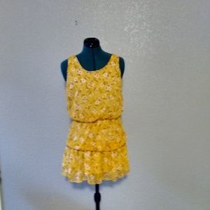 Forever 21 Yellow Daisy Floral Print Dress
